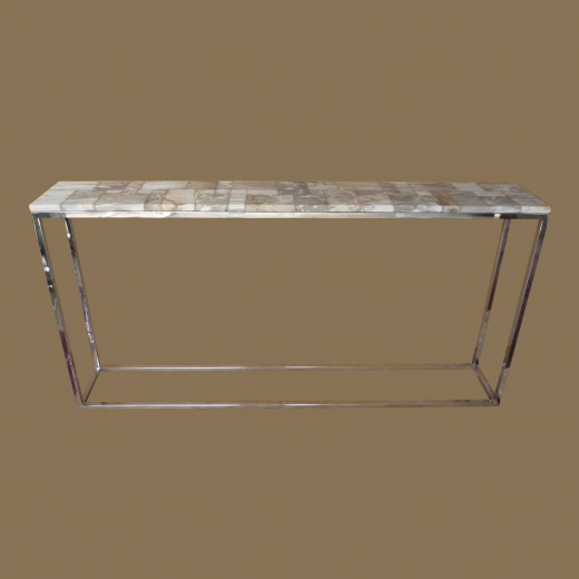 Mosaic Console Table on Stainless Steel Base