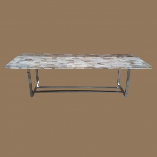 Polished Mosaic Dining table(Thick.top 5cm) WITH Stainless Steel base