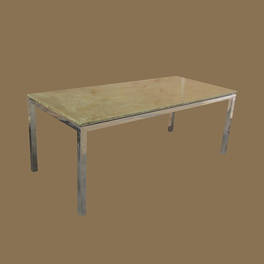 Chipped Glass Resin Dining Table on Steel Base