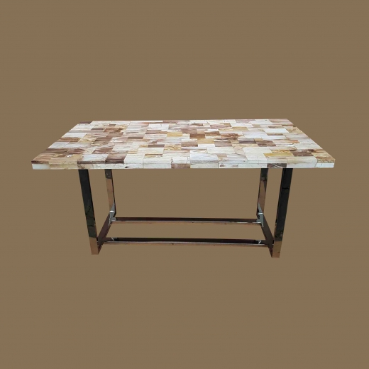 Polished Mosaic Dining table(Thick.top 5cm) on Stainless Steel