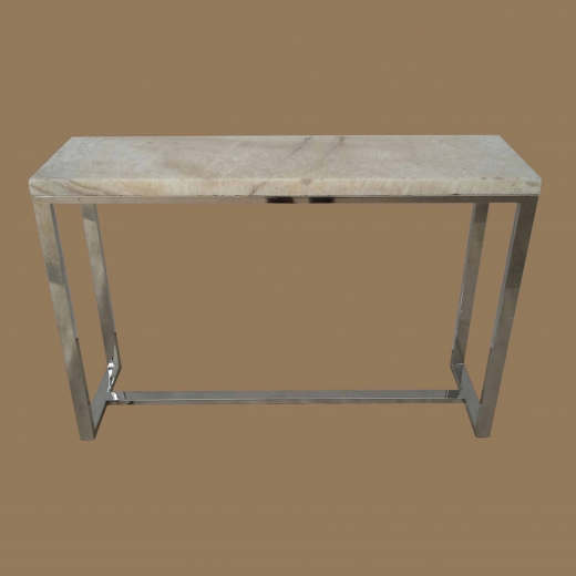 Polished Crystal Onyx Console table on Steel Base