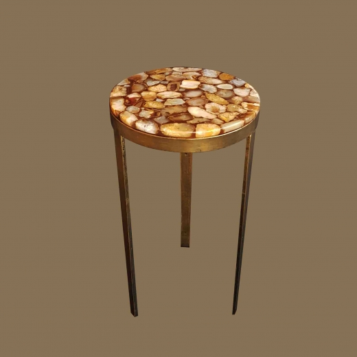 Polished Agate table side table on iron base