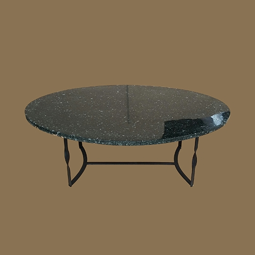 Chipped Glass Resin (Oval Thick 3cm) Coffee Table Black