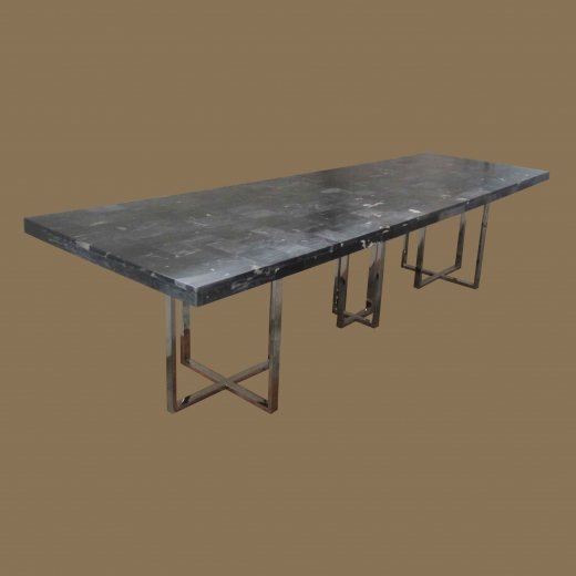 Mosaic dinning Table on Stainless Steel Base Black