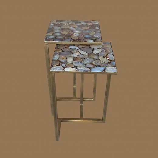 Agathe side table(Set of 2) on New Ant. Gold base