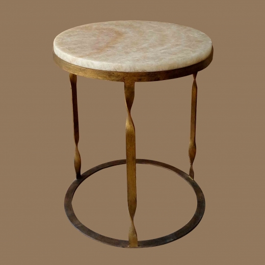 Polished Crystal Onyx Side table(ROUND) on French Gold Twisted base