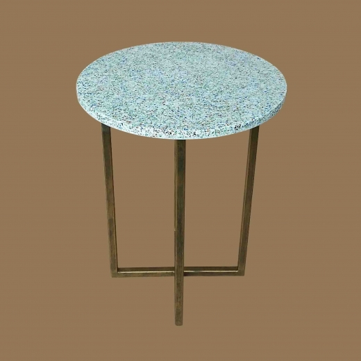 Crushed Glass White resin (Round) side table on Gold frame