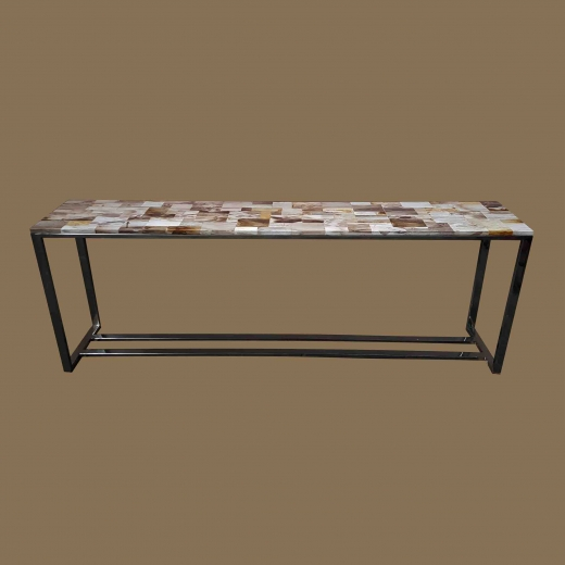 STONE console with steel frame,Polished Mosaic