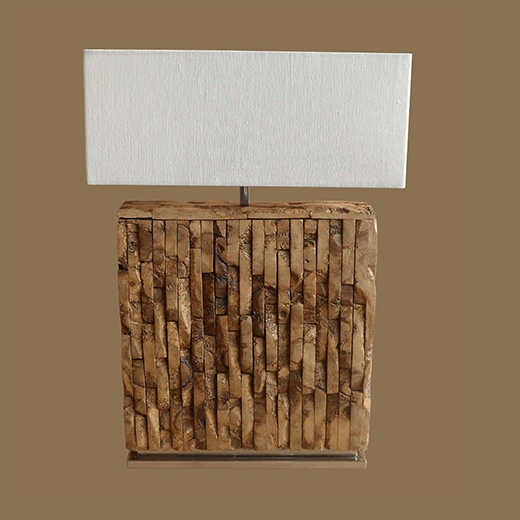 Rustic Mosaic Bamboo Root Lamp Thin