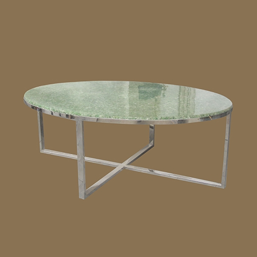 Chipped Glass Resin Coffee Table on Steel Base Oval