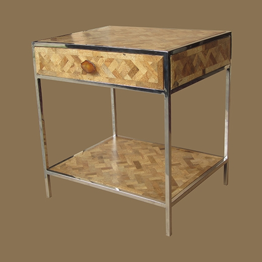 Bamboo Root Weave Side Table with One Drawer