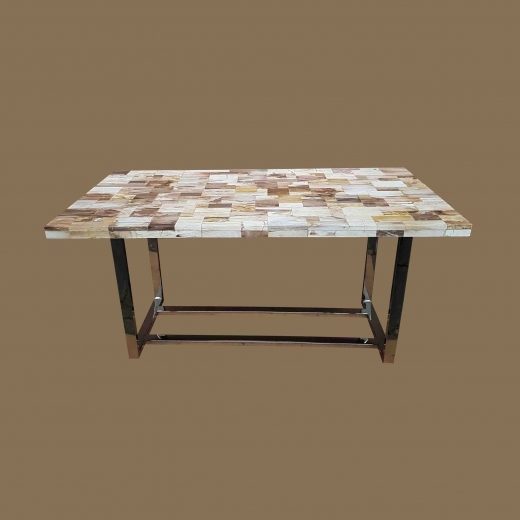 Polished Mosaic Dining table(Top 5cm) on Stainless Steel