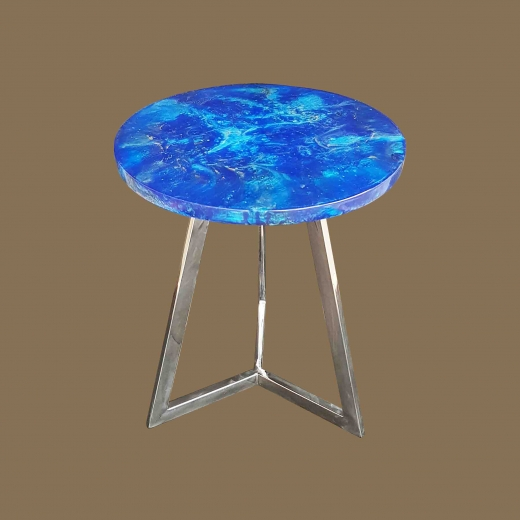 Faux Lapiz Lazulli TOP(Round)  Side table On Iron French Gold base
