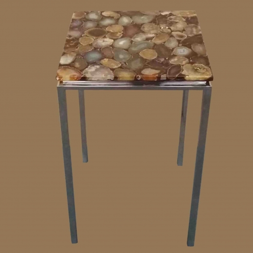 Polished Agate table side table on Steel base