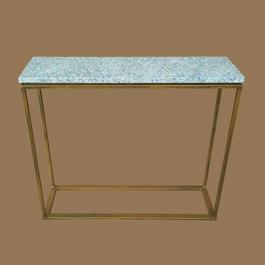 Crushed Glass White resin Console on Gold frame