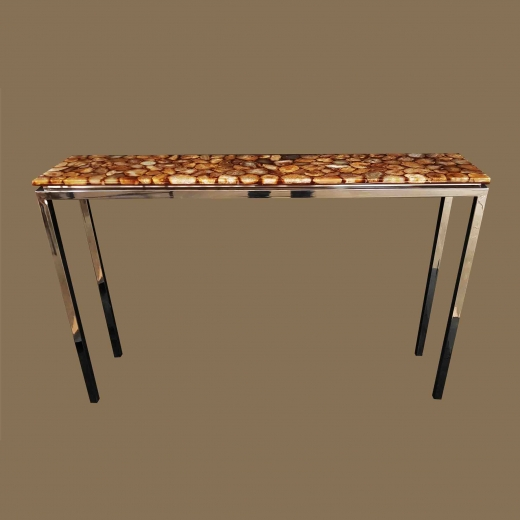 Polished Agate table console table on Steel base