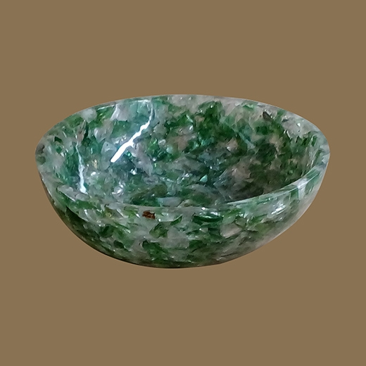 Chipped Glass Resin Bowl (Green Clear Large Chunk)