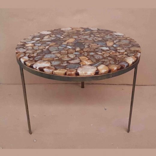 Polished Agate table coffee table on Iron base