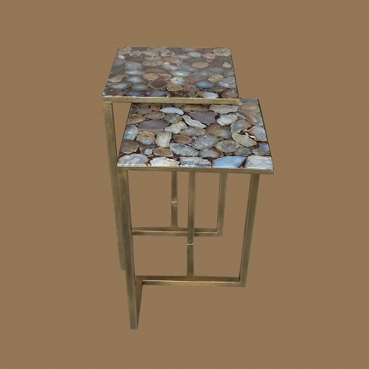 Agate side table(Set of 2) on New Ant. Gold base