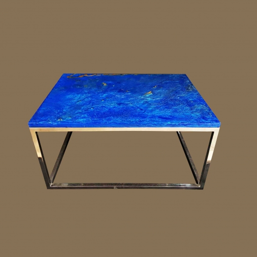 Faux Lapiz Lazulli TOP  coffee table On Stainless Steel base